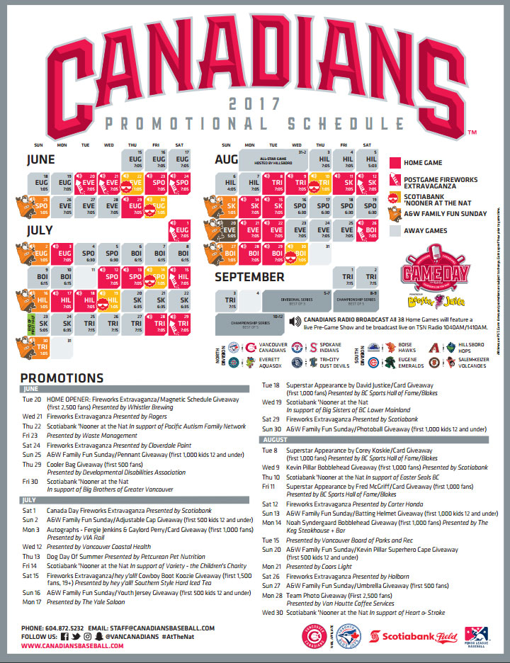 Vancouver Canadians 2017 Promotional Schedule