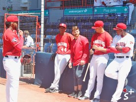 Opening Day starter Randy Pondler leans back and takes everything in.