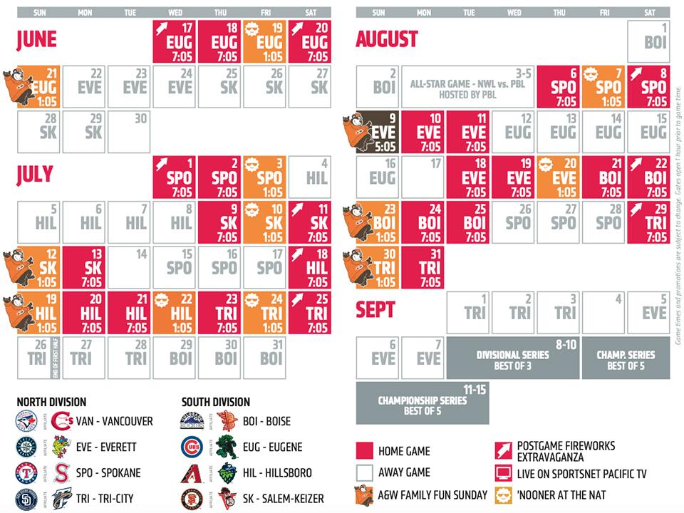 Vancouver Canadians 2020 Northwest League schedule