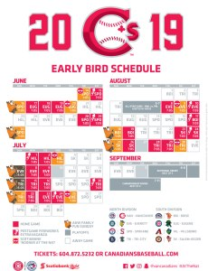 Vancouver Canadians 2019 Schedule