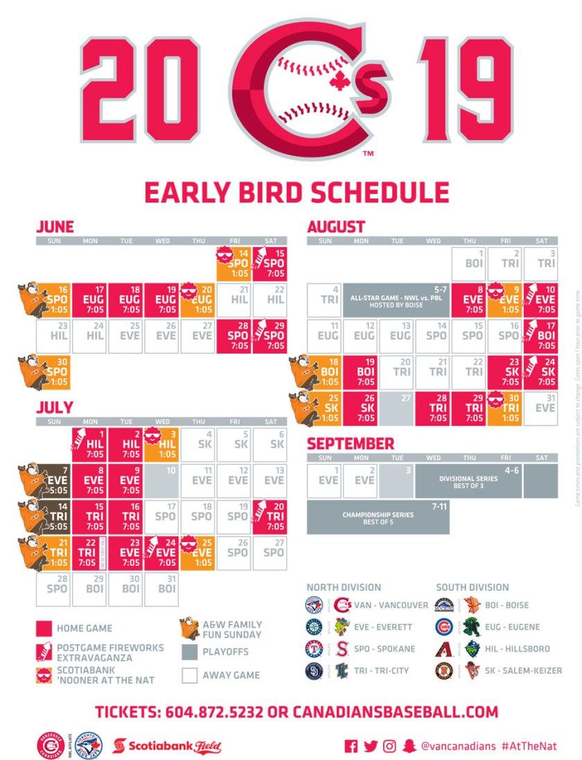 Vancouver Canadians 2019 Schedule
