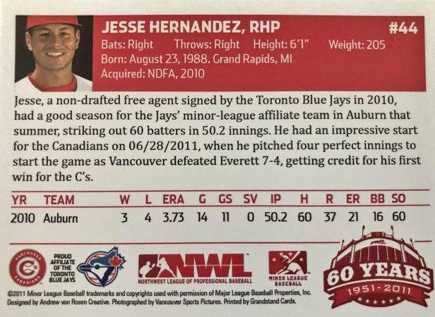 Vancouver Canadians Jesse Hernandez