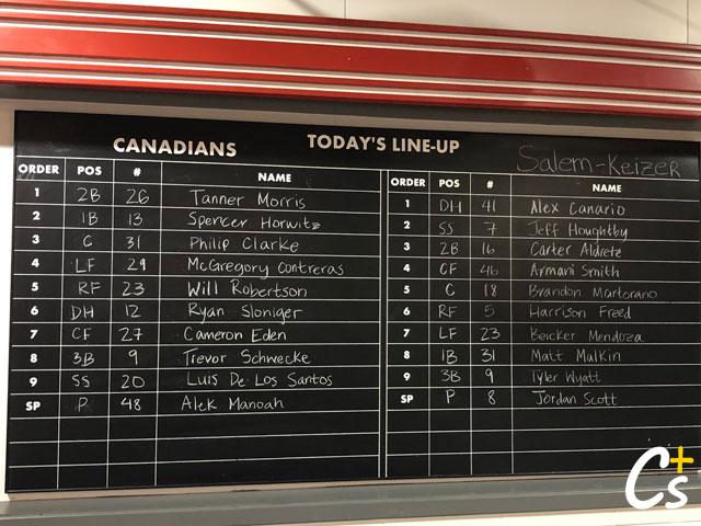 Vancouver Canadians Blackboard Lineups